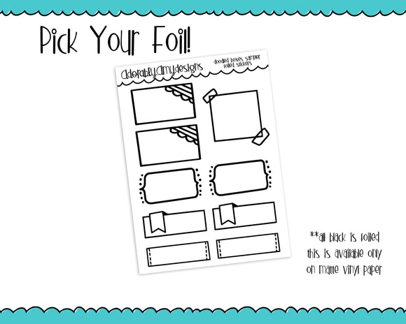 Foiled Doodled Boxes Sampler Planner Stickers for any Planner or Insert - Adorably Amy Designs