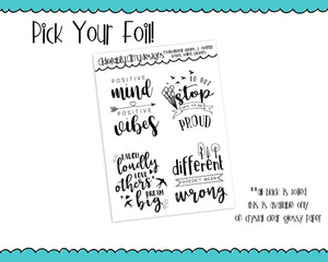 Foiled Clear Motivational Overlay Boxes Planner Stickers for Erin Condren, Plum Planner, Inkwell Press, or Any Size Planners - Adorably Amy Designs