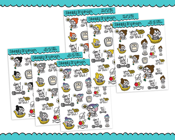 Planner Girls Character Stickers Let's Get Healthy Diet Planner Stickers for any Planner or Insert - Adorably Amy Designs