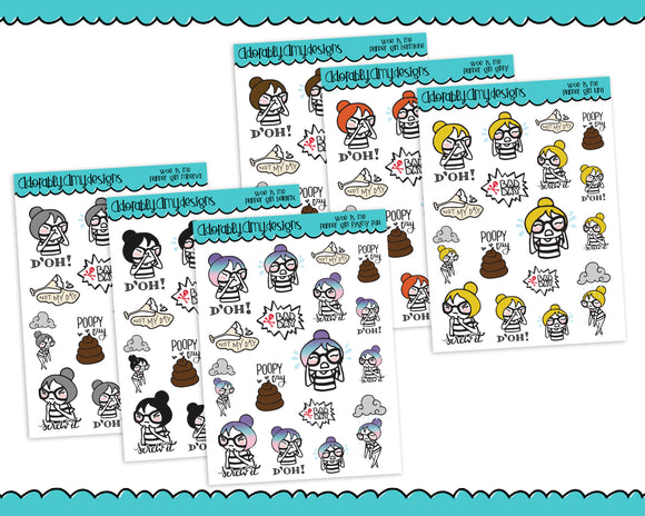 Planner Girls Character Stickers Woe is Me Bad Day Planner Stickers for any Planner or Insert - Adorably Amy Designs