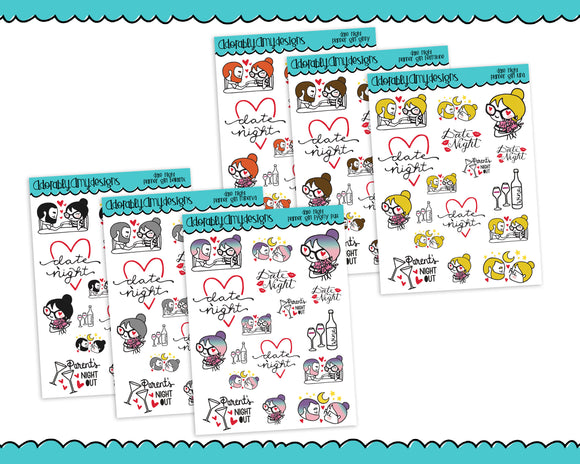 Planner Girls Character Stickers Date Night Out Planner Stickers for Erin Condren, Plum Planner, Happy Planner, or Any Size Planners