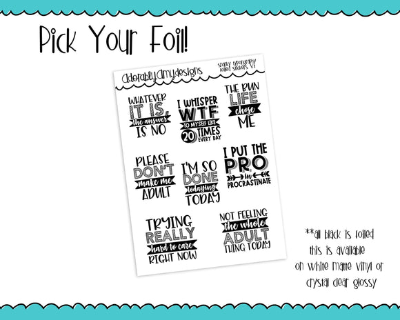 Foiled Snarky Fun Typography V1 Planner Stickers for Erin Condren, Plum Planner, Inkwell Press, or Any Size Planners - Adorably Amy Designs