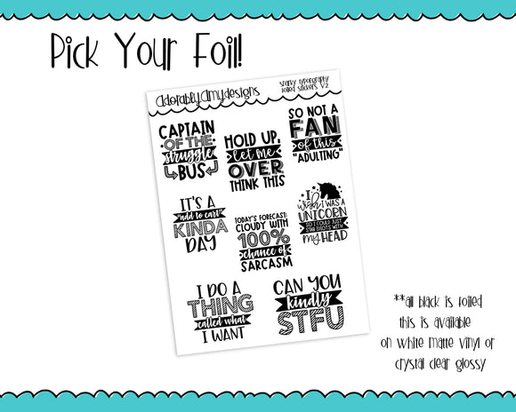 Foiled Snarky Fun Typography V2 Planner Stickers for Erin Condren, Plum Planner, Inkwell Press, or Any Size Planners - Adorably Amy Designs