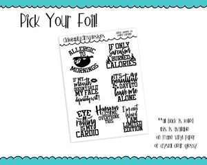 Foiled Snarky Funny Quotes Typography Planner Stickers for any Planner or Insert - Adorably Amy Designs