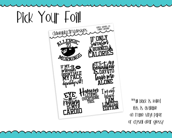 Foiled Snarky Funny Quotes Typography Planner Stickers for Erin Condren, Plum Planner, Inkwell Press, or Any Size Planners - Adorably Amy Designs