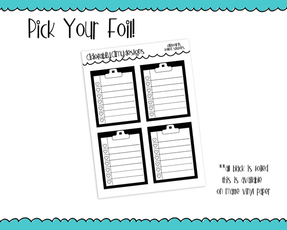 Foiled Clipboard Checklist Planner Stickers for any Planner or Insert - Adorably Amy Designs