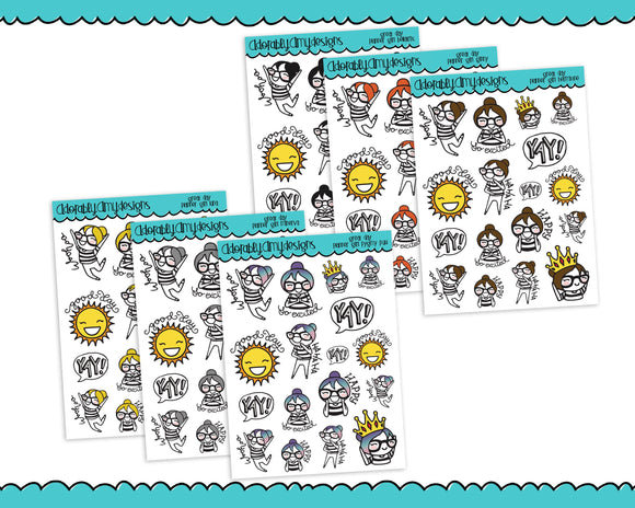 Planner Girls Character Stickers Great Day Happy Day Planner Stickers for any Planner or Insert - Adorably Amy Designs