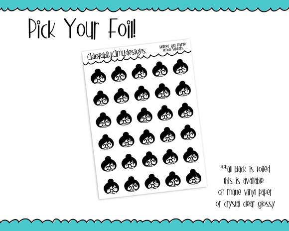 Foiled Planner Girl Myrtle Emotions Heads Planner Stickers for any Planner or Insert - Adorably Amy Designs