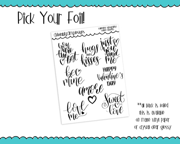 Foiled Valentine Love Typography Planner Stickers for any Planner or Insert - Adorably Amy Designs