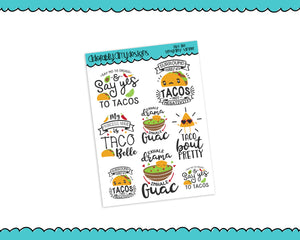Taco Life Taco Lovers Sampler Planner Stickers for Erin Condren, Plum Planner, Inkwell Press, Kikki K or Any Size Planners - Adorably Amy Designs