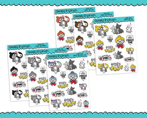 Planner Girls Character Stickers Family Time Family Love Planner Stickers for Erin Condren, Plum Planner, Happy Planner, or AnySize Planners - Adorably Amy Designs