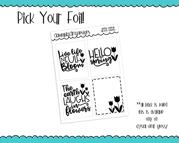 Foiled Spring Blooms Full Box Overlays for Horizontal or Vertical Standard size Planners or Inserts - Adorably Amy Designs