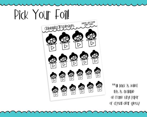 Foiled Planner Girl Myrtle Online Video Watching Planner Stickers for any Planner or Insert - Adorably Amy Designs