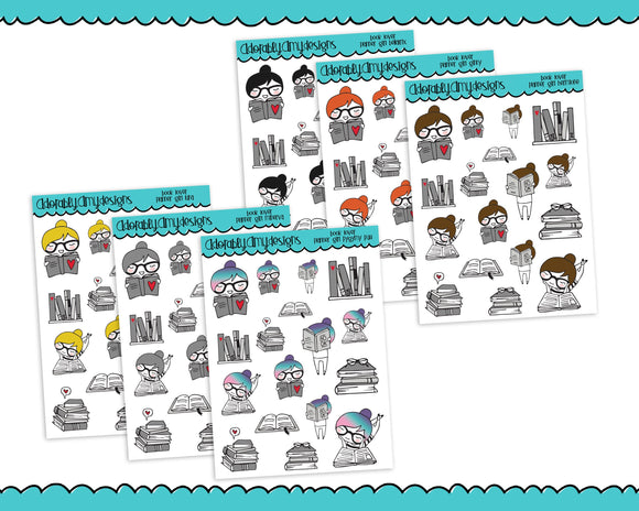 Planner Girls Character Stickers Book Lover Reading Planner Stickers for any Planner or Insert - Adorably Amy Designs