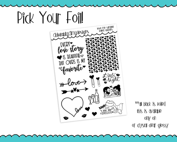 Foiled Clear Love Me Valentine Love Sampler Planner Stickers for any Planner or Insert - Adorably Amy Designs