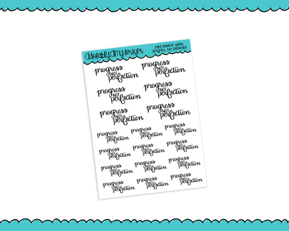 Hand Lettered Progress not Perfection Self Love Planner Stickers for any Planner or Insert - Adorably Amy Designs