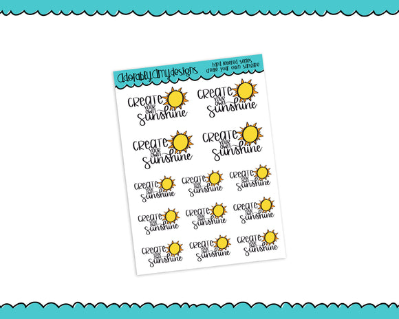 Hand Lettered Create Your Own Sunshine Good Day Planner Stickers for any Planner or Insert - Adorably Amy Designs