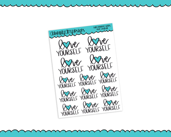 Hand Lettered Love Yourself Self Love Good Day Planner Stickers for Erin Condren, Plum Planner, Happy Planner, or Any Size Planners - Adorably Amy Designs