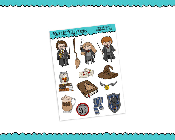 Doodled Wizard School Intelligence and Wit Decorative Planner Stickers for any Planner or Insert - Adorably Amy Designs