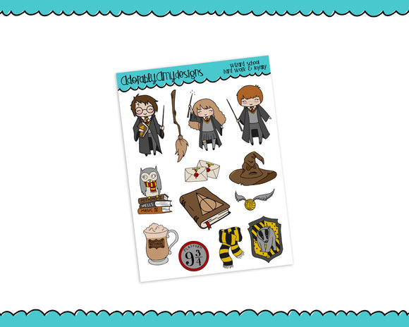 Doodled Wizard School Hard Work and Loyalty Decorative Planner Stickers for any Planner or Insert - Adorably Amy Designs