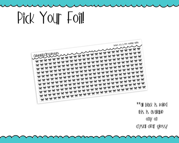 Foiled Bows V3 5 MM OR 10 MM Clear Overlay Planner Sticker Strips for any Planner or Insert - Adorably Amy Designs