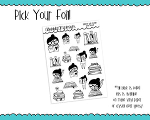 Foiled Planner Girl Myrtle Book Lover Planner Stickers for Erin Condren, Plum Planner, Inkwell Press, or Any Size Planners - Adorably Amy Designs