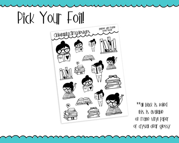 Foiled Planner Girl Myrtle Book Lover Planner Stickers for any Planner or Insert - Adorably Amy Designs