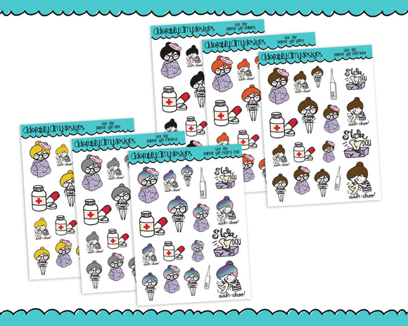 Planner Girls Character Stickers Sick Day So Sick Planner Stickers for Erin Condren, Plum Planner, Inkwell Press, or Any Size Planners - Adorably Amy Designs