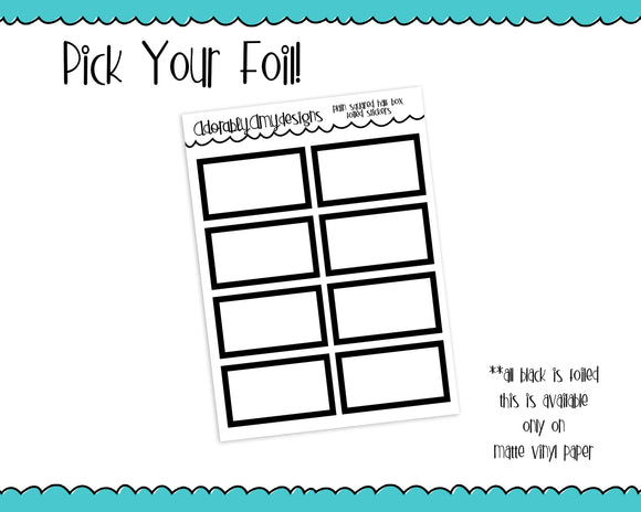 Foiled Plain Square Shape Half Box Planner Stickers for any Planner or Insert - Adorably Amy Designs