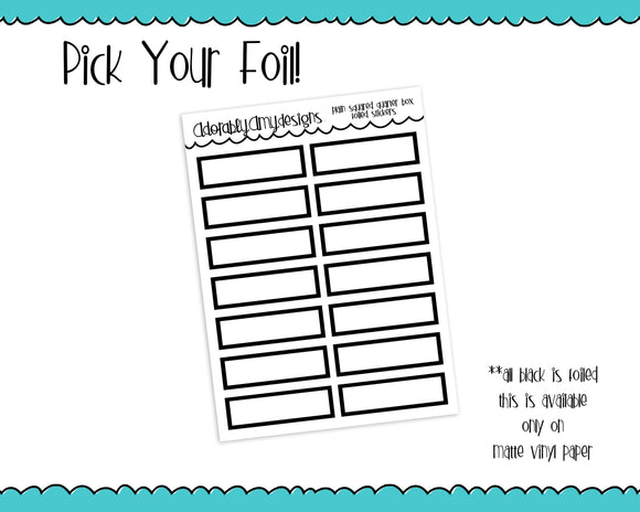 Foiled Plain Square Shape Quarter Box Planner Stickers for any Planner or Insert - Adorably Amy Designs