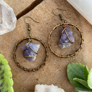 Grape Agate Wrapped Hoops