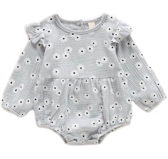 Grey Floral Infant Romper