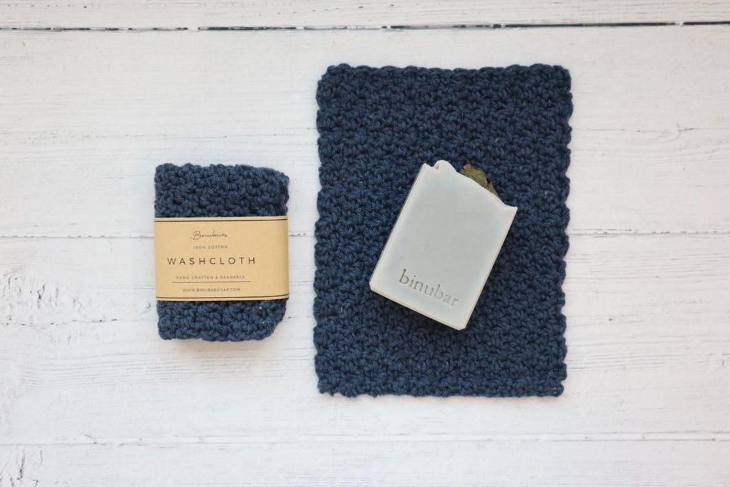 Cotton Washcloth - Navy