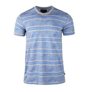 Men Cotton Short Sleeve T-shirt (BGKT 7054-GREY/BLUE)