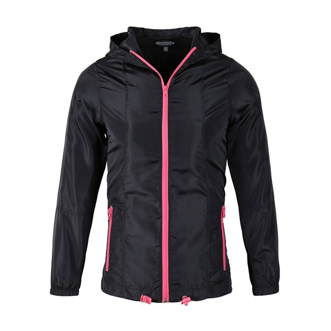 Women's Full Zip Outdoor Windbreaker(VBGWBJ3036-BLACK/NEON PINK )