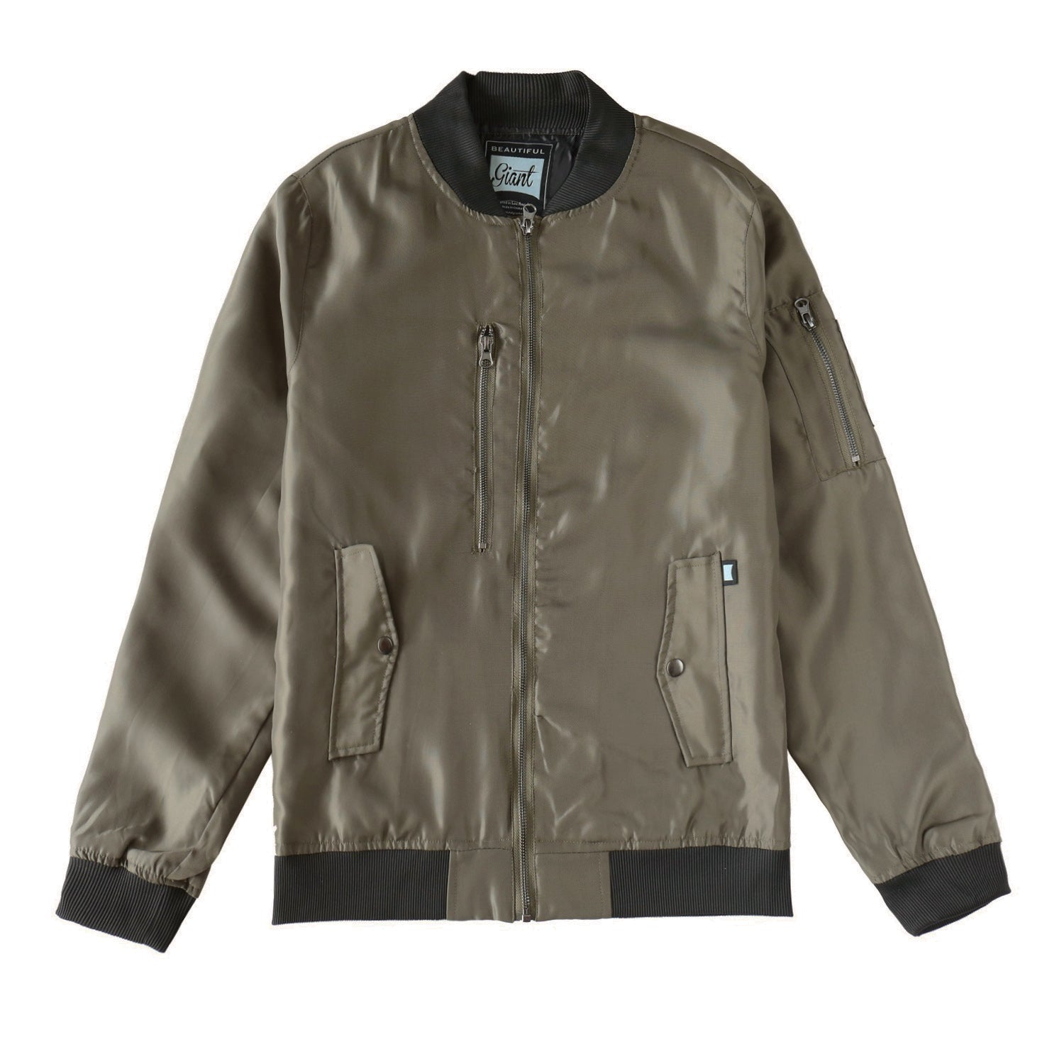 Men's Casual Full Zip Flight Bomber Jacket(F17B0044-OLIVE)