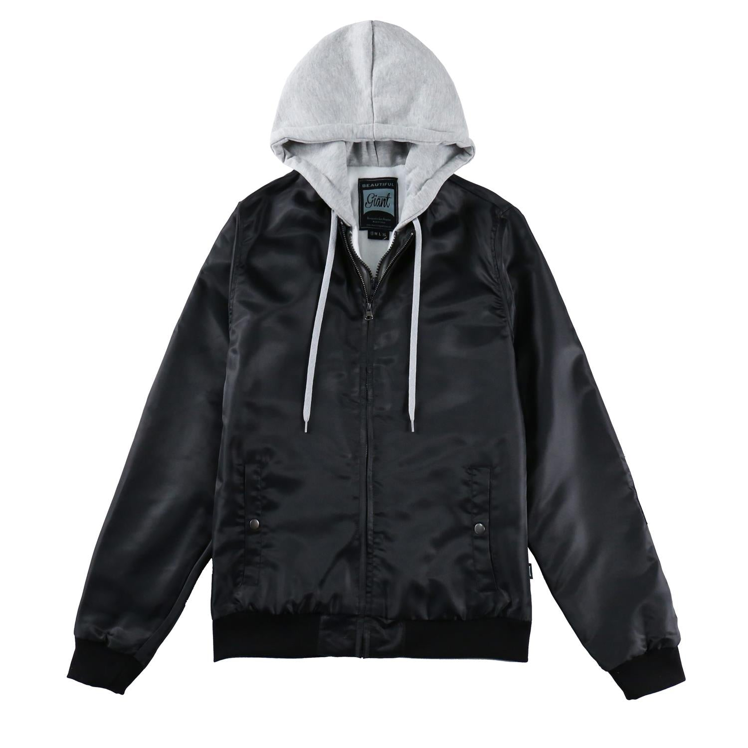 Men's-Casual-Full-Zip-Flight-Hooded-Bomber-Jacket(YF7J09-BLACK)