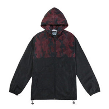 Men's Waterproof Lightweight Hooded Windbreaker(BGWB3021-OX BLOOD/BLACK)