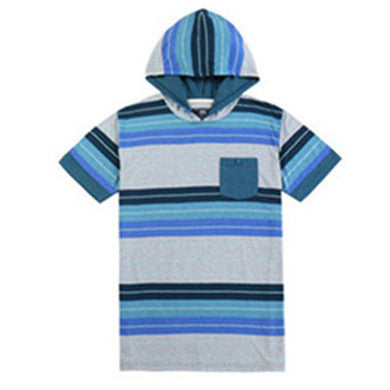 Men Hooded Pullover Striped Comfort Short Sleeve Pocket T-shirt (BGKT 7012H-SPRUCE)