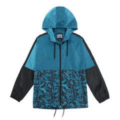 Men's Zipper Closure Lightweight Windbreaker(YF8J17-TEAL FLORAL)