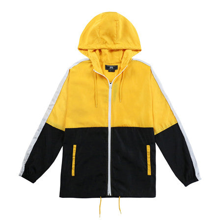 Men's Hooded Lightweight Windbreaker( YS8J13-YELLOW/BLACK)
