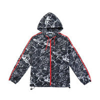 Men's Lightweight with breathable materials Hooded Windbreaker(BGWB3039-BLACK MARBLE)