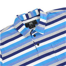 Men's Casual Striped Button Up Short Sleeve Sports Pocket T-shirt (BGKT 7037P-BLUE)