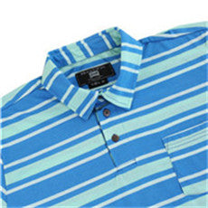 Men's Casual Striped Button Up Short Sleeve Sports Pocket T-shirt (BGKT 7036P-TURQUOISE)