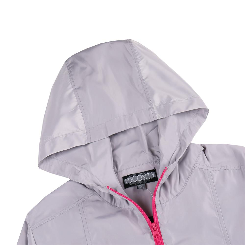 Women's Full Zip Outdoor Windbreaker(VBGJKTW005-GRAY/MAGENTA )