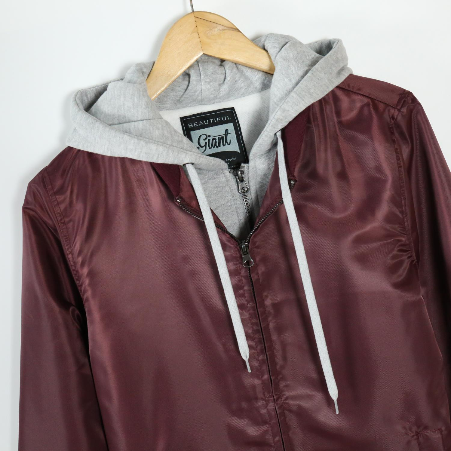 Men's Casual Full Zip Flight Hooded Bomber Jacket(YF7J09-BURGUNDY)