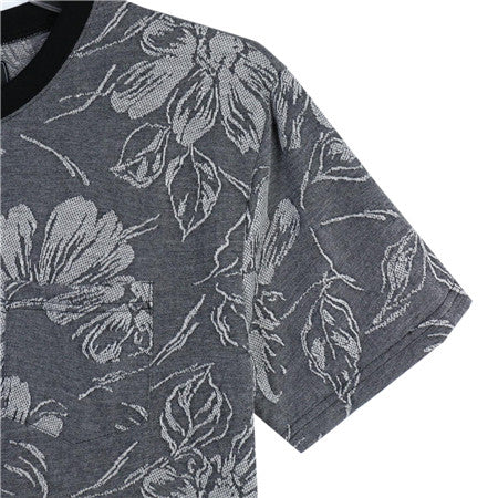 Men-Flower-Print-Striped-Short-Tees--T-shirt--(2184151)