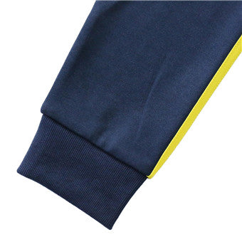 Men's-Full-Zip---Warm-Up-Color-Block-Sleeve?Stripe-Knit-Jacket-(YF9J01-NAVY/YELLOW)