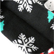 Unisex Snowman Pom Pom Knitted Beanie Stretch Fit Cuff Hat(YF8HBD05-BLACK)