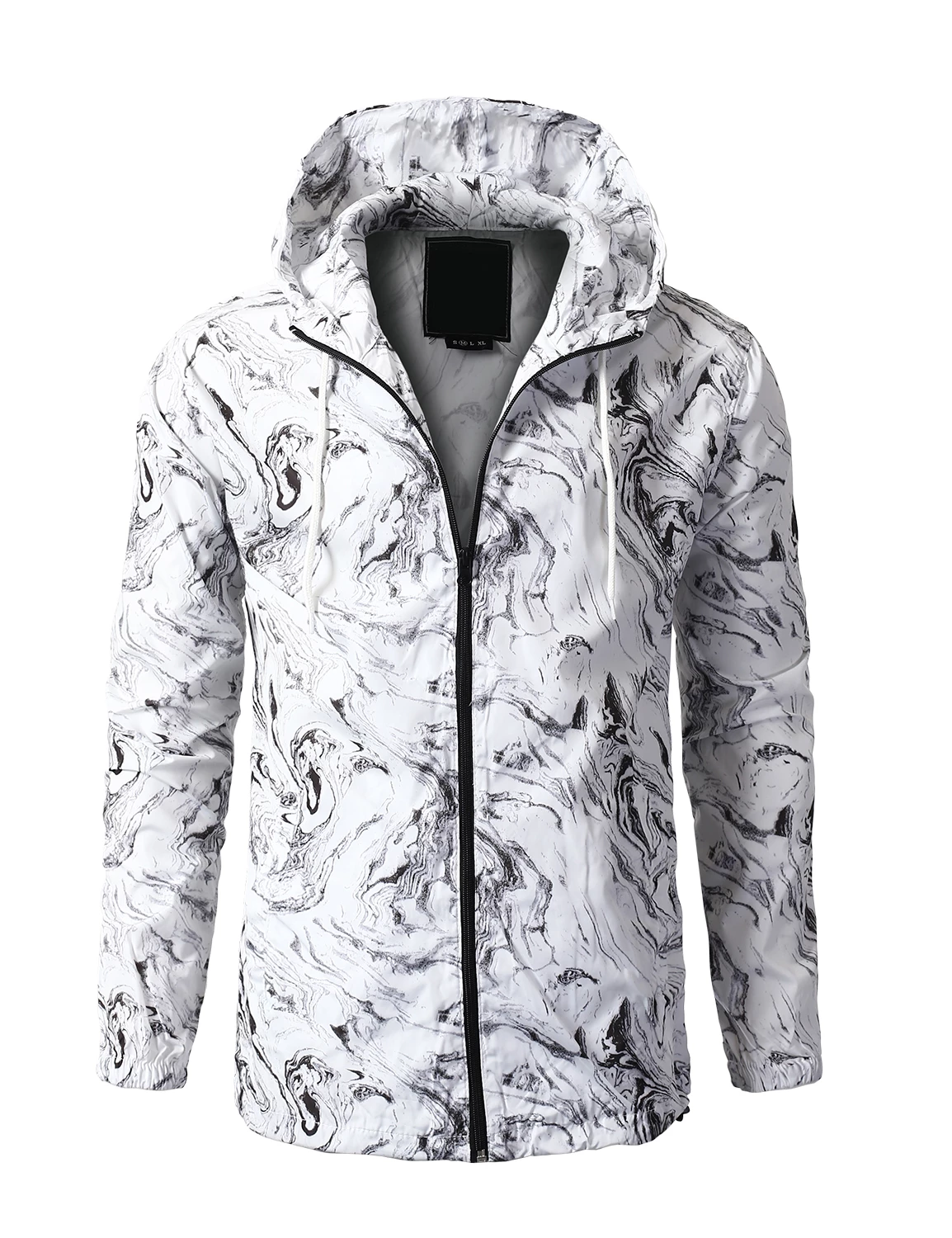 Men's White Camo Hooded Lightweight Water-Resistant Full-Zip Up Pockets Windbreaker